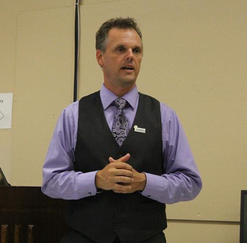 JENNIFER GUSTAVSON PHOTO | Greenport High School principal Lenonard Skuggevick at Wednesday night's school board meeting.