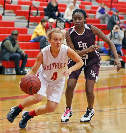 Madison Tabor of Southold/Greenport drives toward the basket against East Hampton Saturday afternoon. (Credit: Daniel De Mato)