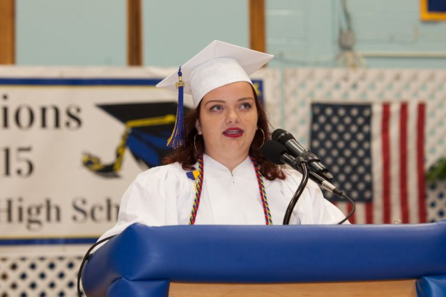 Abigail Terry gives the invocation. (Credit: Katharine Schroeder)
