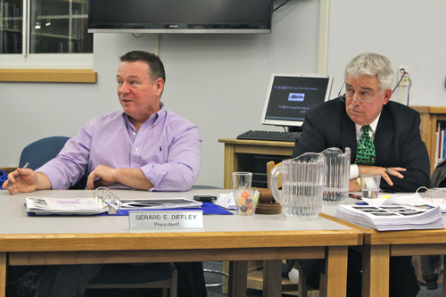 Mattituck-Cutchogue School District Superintendent James McKenna, right, and school board president Jerry Diffley during a meeting last year. (File photo by Jennifer Gustavson)