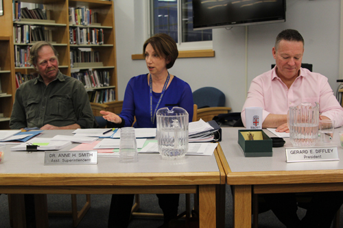Mattituck-Cutchogue School District assistant superintendent Anne Smith, center, at Thursday's budget adoption. (Credit: Jennifer Gustavson)
