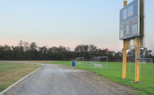 JENNIFER GUSTAVSON PHOTO | The existing cinder track at Mattituck High School would be replaced by an all-weather track if voters approve a $925,000 bond proposal Tuesday.