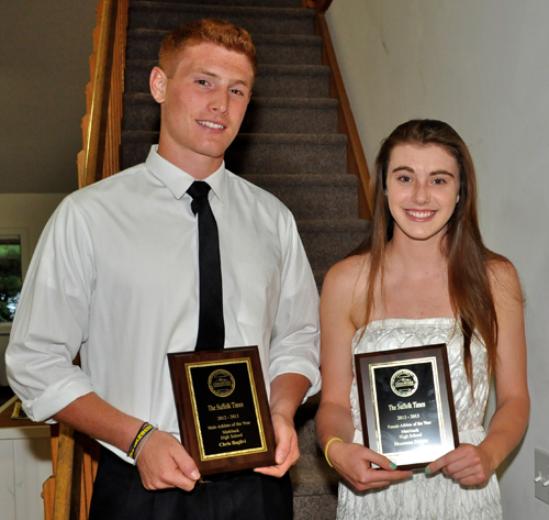 TIM KELLY PHOTO | Chris Baglivi and Shannon Dwyer of Mattituck received plaques for being named athletes of the year.