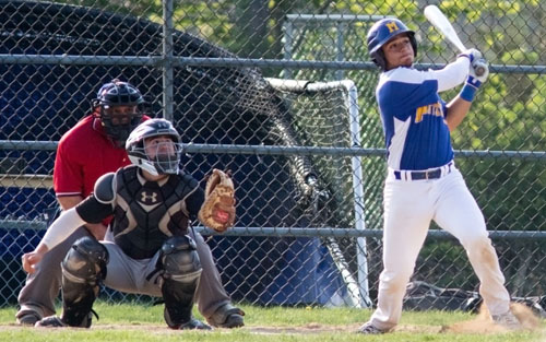 Marcos Perivolaris brought in Mattituck's first run on a sacrifice fly in the fifth inning. (Credit: Katharine Schroeder)