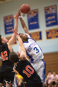 GARRET MEADE FILE PHOTO | Gene Allen's above-the-rim ability is an indispensable part of Mattituck's game.