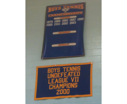 A 10th league title will be added to the Mattituck boys tennis team's championship banner. The question is: Will the Tuckers have to share it? (Credit: Bob Liepa)