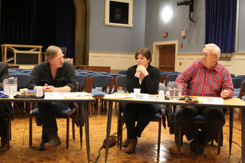 From left, Mattituck-Cutchogue school board members Doug Cooper, Laura Jens-Smith and Jeffrey Smith at a recent meeting. (Credit: Jennifer Gustavson, file)