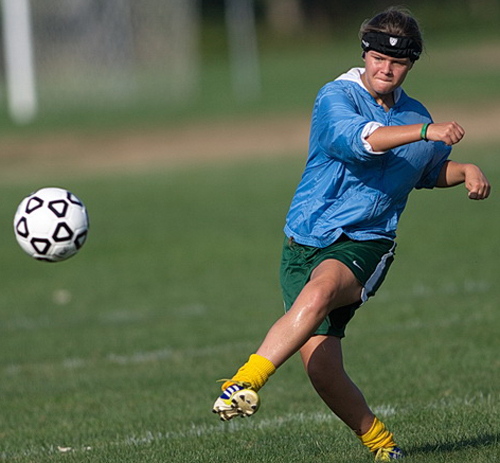 Catherine Hayes gives the ball a boot during Mattituck's practice on Tuesday morning. (Credit: Garret Meade)
