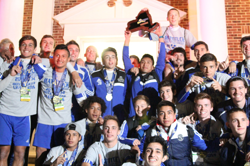 Mattituck soccer players at the high school after retuning home from winning the state championship in November. (Credit: Jen Nuzzo photos)