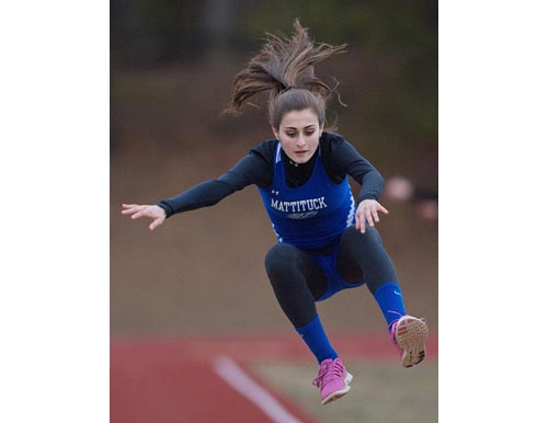 The long jump is one of the events Mattituck sophomore Alya Ayoub excels in. (Credit: Garret Meade, file)