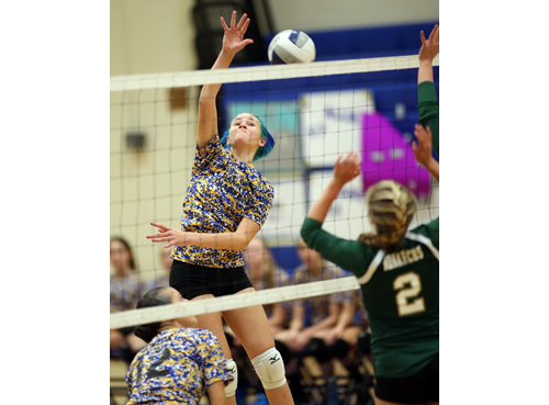 Mattituck's Kathryn Zaloom, who had seven kills, taking a swing against Bishop McGann-Mercy. (Credit: Garret Meade)
