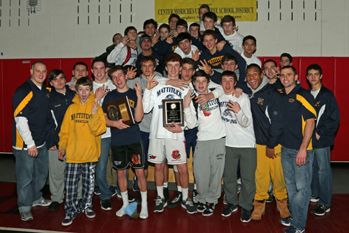 Mattituck/Greenport lifted the Suffolk County Division II championship plaque for the third year in a row. (Credit: Daniel De Mato, file)