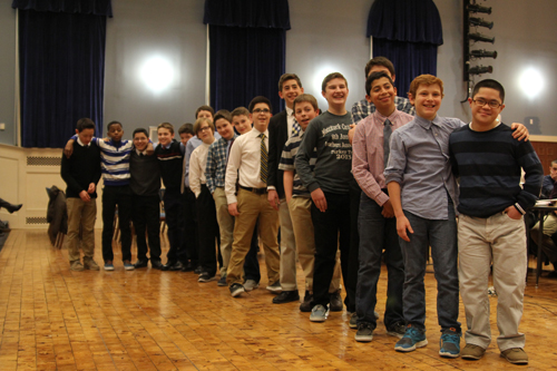 Miguel Borrayo, right, with his teammates at Thursday night school board meeting. (Credit: Jen Nuzzo photos)