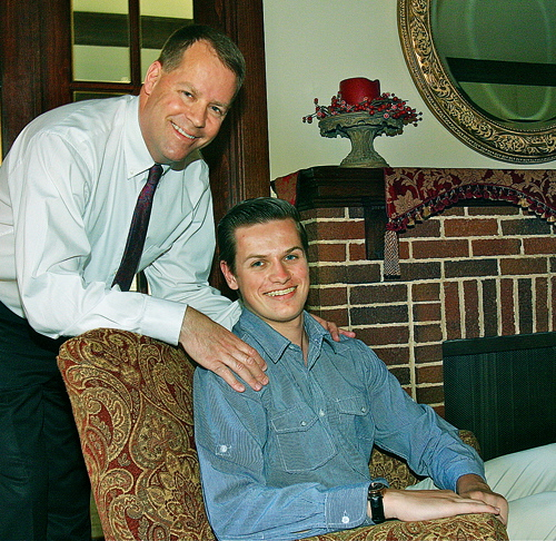 Michael Montgomery and his son Christian at their home in Mattituck this week. (Credit: Barbaraellen Koch)
