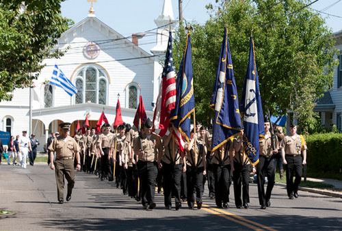 KATHARINE SCHROEDER PHOTO | NJROTC members march in the Southold Town Memorial Day parade last month.