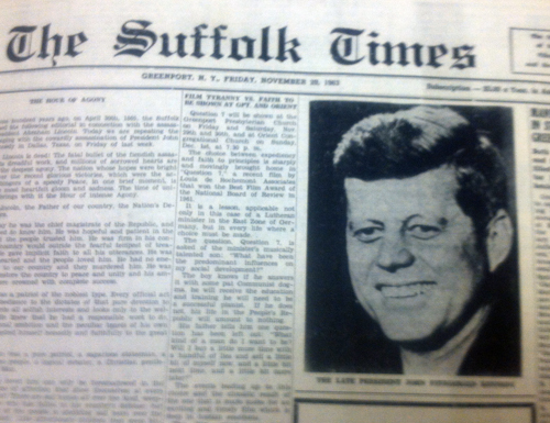 The front page of the Nov.r 29, 1963 edition of The Suffolk Times.
