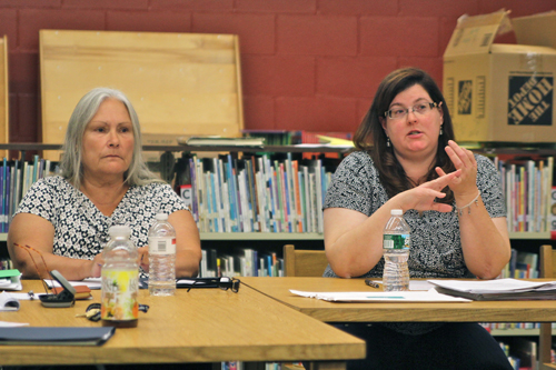 JENNIFER GUSTAVSON FILE PHOTO | From right, Oysterponds school board president Dorothy-Dean Thomas and Linda Goldsmith. The Board of Education meets tonight at the elementary school in Orient.