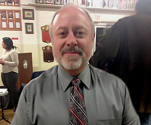 New village administrator  Paul Pallas on his first day of work Monday. (Cyndi Murray photo)