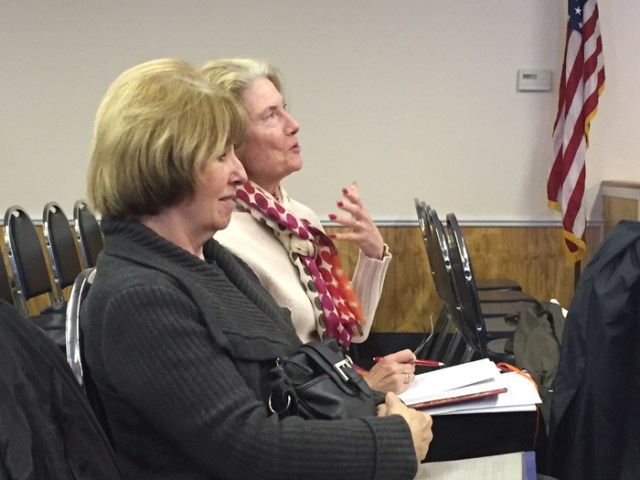 Mattituck residents Julia Amper (left) and Mary Eisenstein express support for a plan to close Old Sound Road. (Credit: Paul Squire)