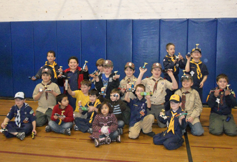 COURTESY PHOTO   Greenport Pack 51 Cub Scouts held their annual Pinewood Derby on Jan. 28 at Greenport School. First place went to Johnathan Montgomery-Medina; second place, Adam Ilgin; third place, Luca Rallis.