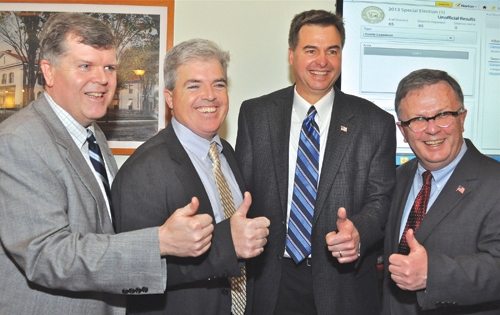 TIM KELLY PHOTO | Suffolk County Democratic Chairman Rich Schaffer, County Executive Steve Bellone, Legislator-elect Al Krupski and Legislator Wayne Horsley.