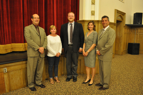 RACHEL YOUNG PHOTO | From left to right: Southold superintendent David Gamberg, Southold school board president Paulette Ofrias, educational technology director Ryan Case, Greenport school board president Heather Wolf and Greenport superintendent Mike Comanda.
