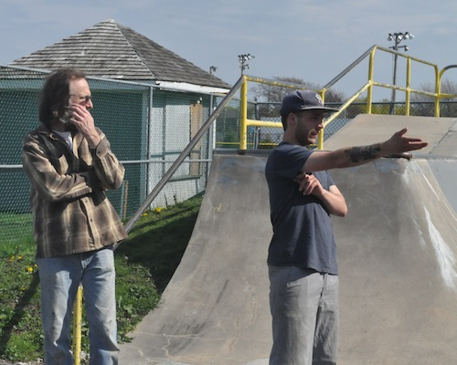 "Mayor David Nyce (left) listens to skater Justin ""Bo"" Pollack on his idea for the skate park. (Cyndi Murray photo)"