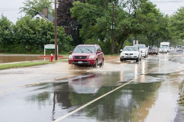 Flooded road near Raphael Vineyard in Peconic. (Credit: Katharine Schroeder)