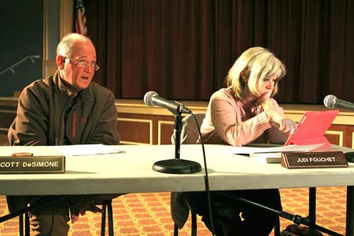 Southold school board members Scott DeSimone, left, and Judi Fouchet at Wednesday's meeting. (Credit: Jennifer Gustavson)