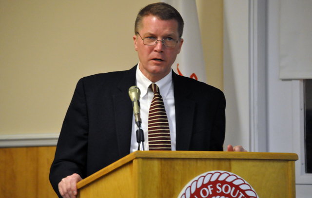 Scott Russell responds to questions following his State of the Town address Thursday. (Credit: Grant Parpan)
