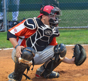 ROBERT O'ROURK PHOTO | Shelter Island catcher Joe Burns was named the most valuable player of the inaugural Hamptons Collegioate Baseball League All-Star Game.