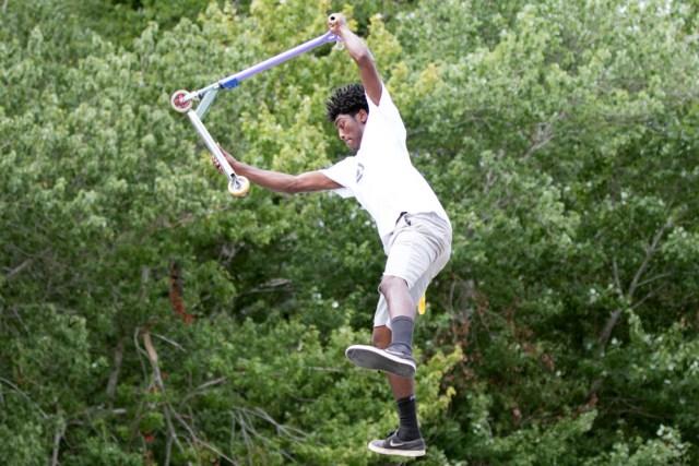 Darius Brew, 16, shows off his skills.
