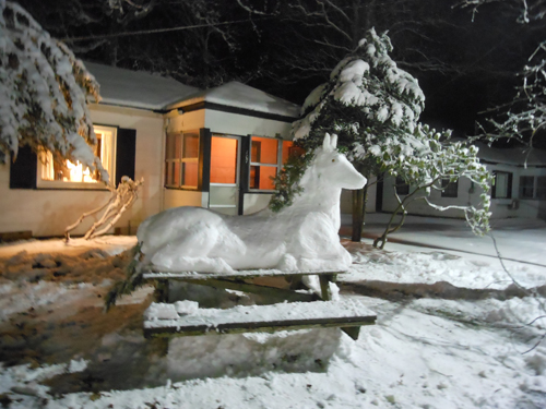 Guests at the Silver Sands Motel in Greenport made a snow horse on top of a picnic table (Photo by Terry Keefe).