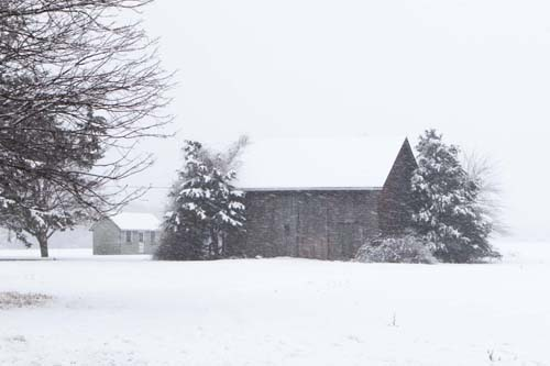 KATHARINE SCHROEDER PHOTO | A Main Road, Cutchogue barn in the snow.