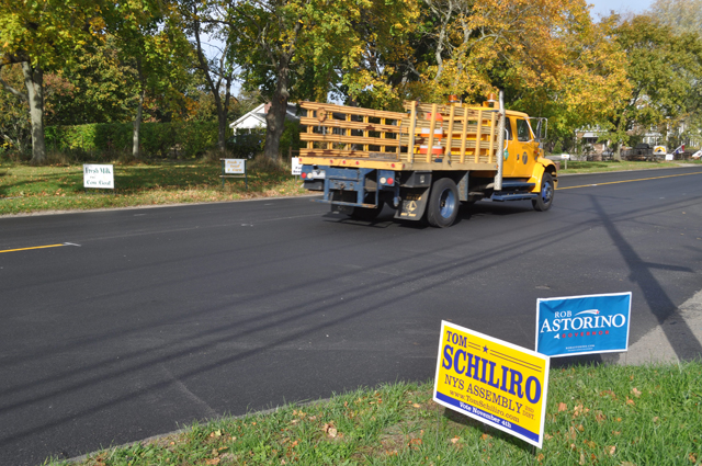 Election signs should be off the roadway by next week as voters head to the polls tuesday, Nov. 4. (Credit: Grant Parpan)