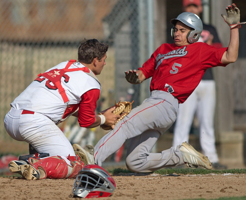 GARRET MEADE PHOTO | Southold's Anthony Fedele was tagged out by Pierson/Bridgehampton catcher Aaron Schiavoni while trying to score what would have been a tying run in the sixth inning.