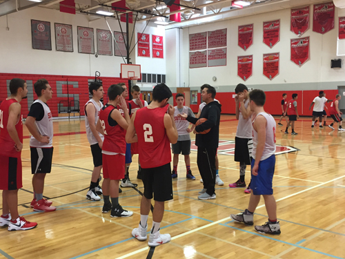 The Southold boys basketball team at a recent practice. (Credit: Bob Liepa_