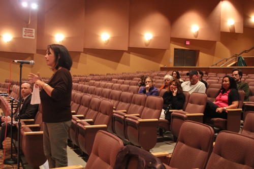 JENNIFER GUSTAVSON PHOTO | Peconic resident Angela Noncarrow expresses her concerns about Common Core to the Southold school board Wednesday night.