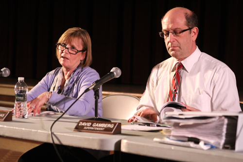 Southold School District Superintendent David Gamberg, right, and school board president Paulette Ofrias at a school board meeting earlier this year. The state released Wednesday an audit of the district's finances.