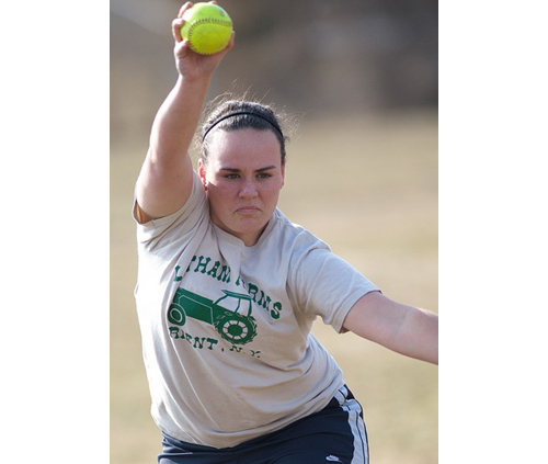 Sarah Tuthill, a junior right-hander known for her calmness under pressure, is Southold/Greenport's new starting pitcher. (Credit: Garret Meade)