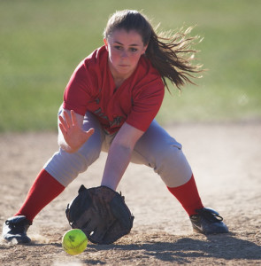GARRET MEADE PHOTO | Southold/Greenport shortstop Caitlin Grilli was the picture of focus while fielding this ground ball.