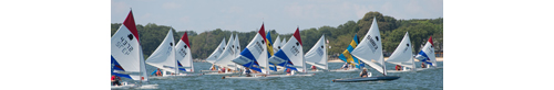Seconds after the start of the 44th annual World's Longest Sunfish Race, Around Shelter Island, NY, the Sunfish were bunched together. (Credit: Robert O'Rourk)