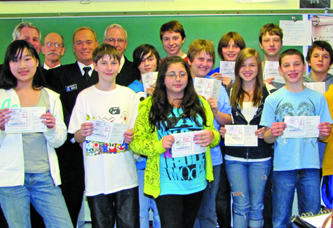 14 students who have recently completed Southold'f first safe boating class.