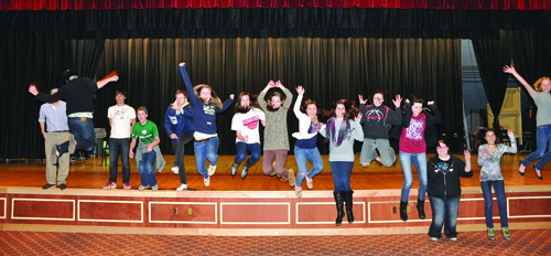 Southold High School students jump from the stage on which they'll perform next Friday, March 4, in a talent showcase to raise funds for the junior-senior prom. The event will also feature a concert by the Long Island band GRECO, and student performers will get to meet band members after the show. The concert starts at 7 p.m.; tickets ($5, plus a can of food for a local food bank) can be bought in the high school's main office.