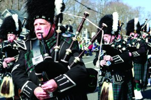 The Peconic Warpipes marching through Cutchogue during last year's St. Patrick's Day parade.