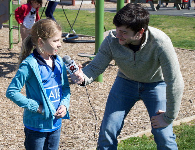 Elementary scholl student Michaela Lynch is interviewed by high school students. (Credit: Grant Parpan)