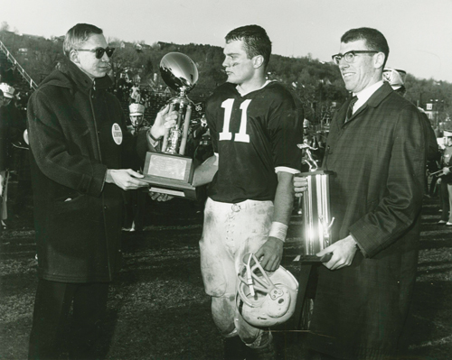 Lafayette quarterback George Hossenlopp (No. 11) was the most valuable player in his school's 100th football game versus Lehigh in 1964. The game ended in a 6-6 tie. (Credit: Layfayette College)