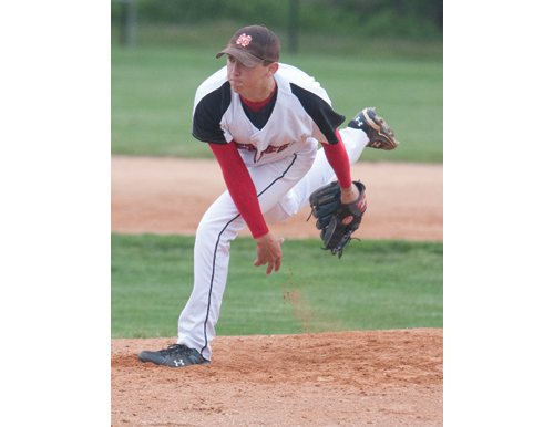 Tyler Badamo pitches for Mount Sinai High School in 2010. Badamo was drafted by the New York Mets this spring. (Credit: Ken Hild, file)