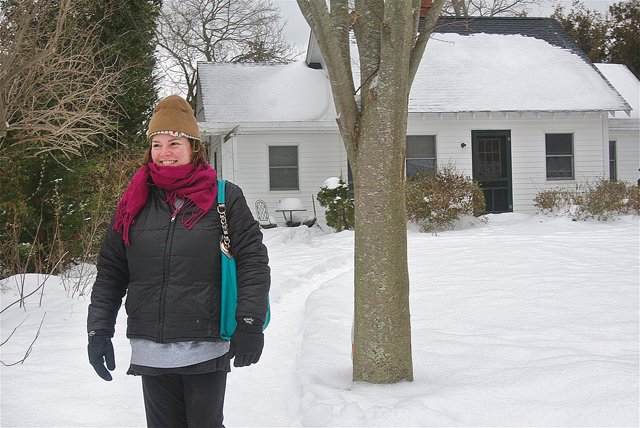 """Constance Riley in front of her mother's home on Rogers Road which was nicknamed the 'berry garden"""" house. (Credit: Barbaraellen Koch)"""