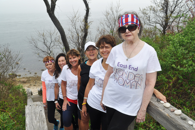 Edana Cichanowicz of Cutchogue (from right to left), Gina McGrail of Southold, Kate Williamson of Laurel, Debbie Horton of Cutchogue, Donna Carnevale of Cutchogue and Jeanne Caufield of Southold after a training session at Horton's Point Sunday. (Credit: Grant Parpan)